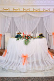 Interior of a wedding banquet in restaurant — Stock Photo