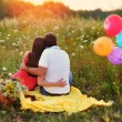 Stock Photo: Mand womsitting in field and colorful balloons