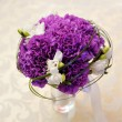 Stock Photo: White and purple flowers on wedding table