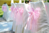 Beautiful chairs with pink bows on wedding ceremony — Stockfoto