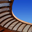 Wooden ceiling gazebo and blue sky — Stock Photo