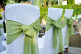 Wedding chair decorated with green color and flower. — Stock Photo