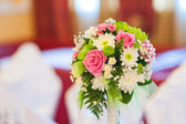 Beautiful wedding bouquet with pink and white flowers — Stock Photo