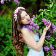 Portrait of young woman near  the blossoming  lilac — Stock Photo