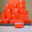 Red boxes for guest attending the wedding — Stock Photo