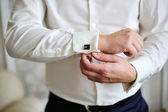 Men wear a shirt and cufflinks — Stock Photo