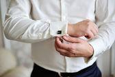 Men wear a shirt and cufflinks — Stock Photo