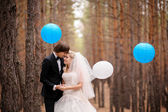 Bride and groom walking in autumn pine forest — Stock Photo