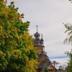 Old wooden orthodox church in Svyatogorsk, Donetsk area, Ukraine — Stock Photo #32321187