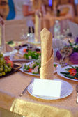 Decorated wedding table in the restaurant — Stock Photo