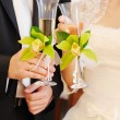 Bride and groom holding champagne glasses — Stock Photo