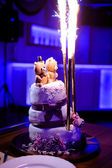 Traditional and decorative wedding cake at wedding reception — Stock Photo