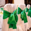 Wedding chair decorated with green color and flower — Stock Photo