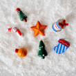 Snowman Ornaments on White Background — Stock Photo