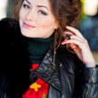 Young pretty beautiful young womoutdoor portrait in cold wind — Stock Photo #37090957
