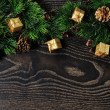 Christmas backgrounds. Christmas decor on the wooden background. — Stock Photo