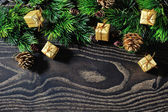 Christmas border design on the wooden background — Stock fotografie