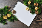 Christmas border design on the wooden background — Foto de Stock