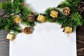 Christmas backgrounds. Christmas decor on the wooden background. — Photo