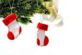 Santa's boots on christmas tree — Stock Photo