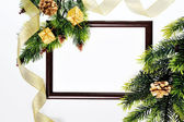 Frame paper wooden and Christmas decorations isolated on white — 图库照片