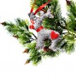 Christmas Tree Holiday Ornament Hanging from a Evergreen Branch — Stock Photo