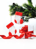 Christmas decoration with gift and Christmas boots — Foto Stock