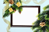 Frame paper wooden and Christmas decorations isolated on white — Stock Photo