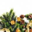 Christmas tree decoration, cones, gifts and place for your text on a white background — Stock Photo #37712913