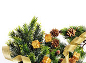 Christmas tree decoration, cones, gifts and place for your text on a white background — Stock Photo