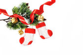 Boots Santa Claus, Christmas decoration on white background — Stock Photo