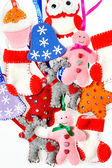 Texture of Christmas toys, handmade fleece. Beautiful Christmas — Stock Photo