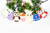 Christmas ornament hanging accessories handmade from felt on a w — Stock Photo