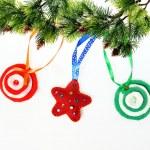 Christmas ornament background of handmade toys fleece and felt — Stock Photo #37929399