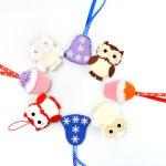 Christmas ornament background of handmade toys fleece and felt — Stock Photo #37929403