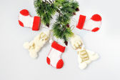 Christmas ornament background boots and snowman, santa claus on — Stock Photo