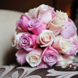 Stock Photo: Bridal bouquet of white and pink roses