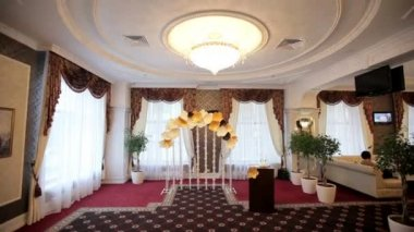 Hall for wedding ceremonies festively decorated — Stock Video