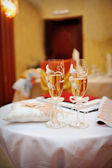 Two glasses of champagne on the table — Stock Photo
