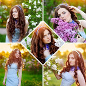 Collage of beautiful girl in spring garden with lilac flowers — Stock Photo