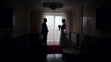 Silhouettes of the bride and groom on the background of a window — Stock Video