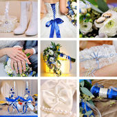 Collage of nine wedding photos in blue — Stock Photo