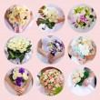 Collage of beautiful wedding bouquets bride. 9 photos — Stock Photo
