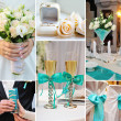 Stock Photo: Collage of wedding pictures decorations in turquoise, blue color