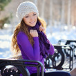 Beautiful brunette girl on a walk in winter — Stock Photo