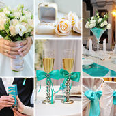 Collage of wedding pictures decorations in turquoise, blue color — Stock Photo