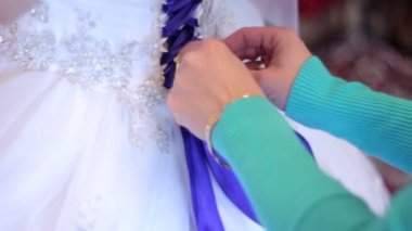Bridesmaid dresses bride wedding dress — Stock Video