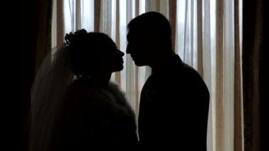 силуэты невесты и жениха на фоне окна — Стоковое видео