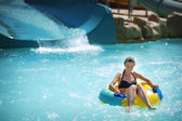 Beauty Brunette at Water Park — Stock Photo
