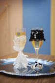 Two glasses with champagne standing on the table — Stock Photo